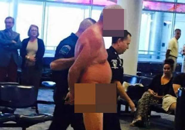 Man strips at Charlotte Douglas International Airport. Image: Sherry Ketchie