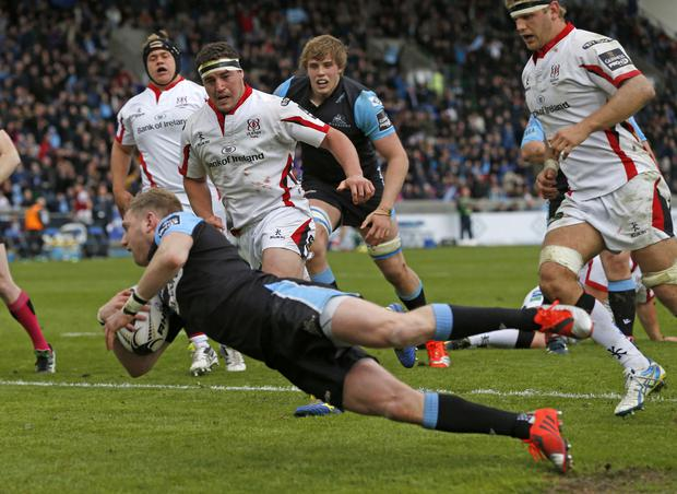 Quality finish: Glasgow Warriors' Finn Russell scores a try in last week's win over Ulster