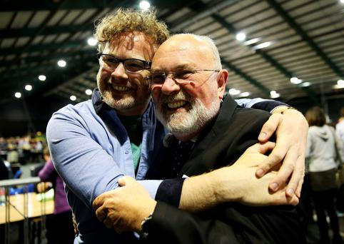 Senator David Norris (right) with Andrew Hyland of YES Equality at the counting of votes in Irish referendum on same-sex marriage. Pic Brian Lawless/PA Wire