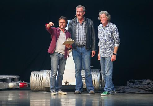 Jeremy Clarkson, Richard Hammond and James May during the live show at the Odyssey Arena in Belfast in May. Kevin Scott/Presseye.