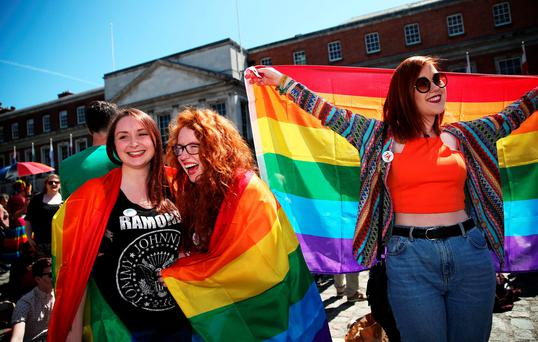 (left to right) Erin Reddy, Dee Campbell and Helen McCarthy at the Central Count Centre in Dublin Castle, Dublin as votes are continued to be counted in the referendum on same-sex marriage.