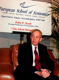 John Forbes Nash, 1994 Economics Nobel Prize winner, takes a break during the European School of Economics conference in Rome. Nash, the Nobel Prize-winning mathematician whose struggle with schizophrenia was chronicled in the 2001 movie