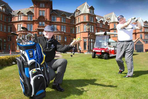 TEEING UP FOR THE IRISH OPEN...Sir William Hastings was joined by his caddy and General Manager of the Slieve Donard Resort & Spa, Stephen Meldrum, to launch the hotels limited edition golf duck. The Slieve Donard Resort is Official Host Hotel for the 2015 Dubai Duty Free Irish Open hosted by the Rory Foundation and guests next week, including some of the worlds most famous golfers, will receive a complementary golf duck in their bedroom.