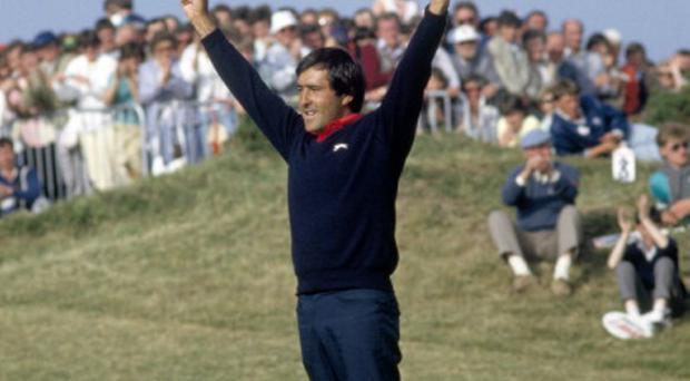 Severiano Ballesteros of Spain celebrates after making the final putt to win the Irish Open Golf Tournament held at the Portmarnock Golf Club, Ireland, 22nd June 1986. (Photo by Phil Sheldon/Popperfoto/Getty Images)