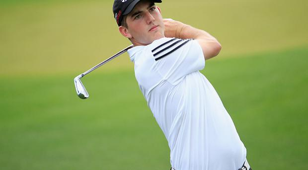 AUGUSTA, GA - APRIL 07: Amateur Bradley Neil of Scotland watches a shot during a practice round prior to the start of the 2015 Masters Tournament at Augusta National Golf Club on April 7, 2015 in Augusta, Georgia. (Photo by Jamie Squire/Getty Images)