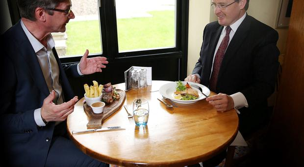 Joris Minne has lunch with Howard Hastings at the Cultra Inn BRIAN LITTLE/PRESSEYE