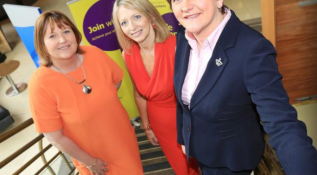 Finance Minister Arlene Foster (left) with Roseann Kelly and Kate Marshall