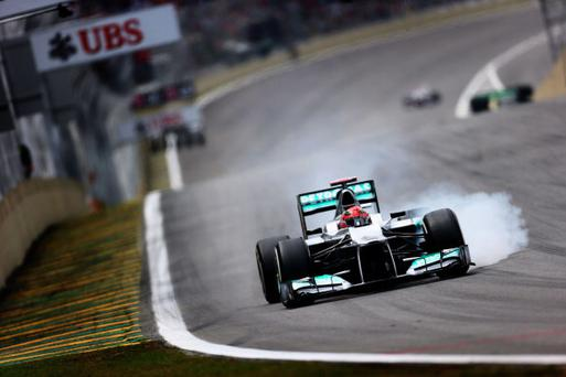 SAO PAULO, BRAZIL - NOVEMBER 24: Michael Schumacher of Germany and Mercedes GP drives during qualifying for the Brazilian Formula One Grand Prix at the Autodromo Jose Carlos Pace on November 24, 2012 in Sao Paulo, Brazil. (Photo by Paul Gilham/Getty Images)