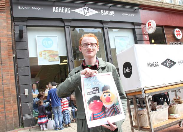 You can't have you cake and eat it: Our reporter Christopher Woodhouse outside Ashers Bakery in Belfast. Pic: Colm O'Reilly/Sunday Life.