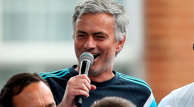 Chelsea manager Jose Mourinho interacts with the crowd duing the Chelsea FC Premier League Victory Parade on May 25, 2015 in London, England. (Photo by Ben Hoskins/Getty Images)