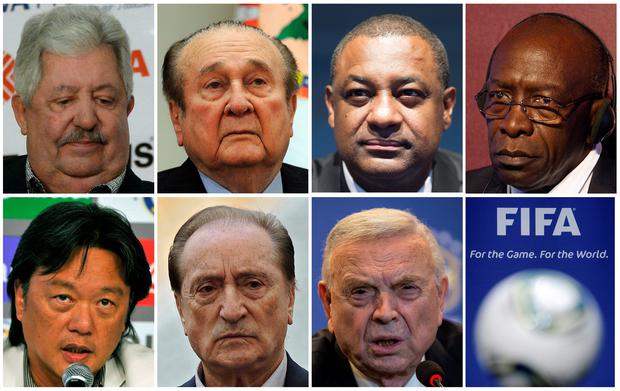 Fifa officials (left to right, from top) Rafael Esquivel, Nicolas Leoz, Jeffrey Webb, Jack Warner, Eduardo Li, Eugenio Figueredo and Jose Maria Marin. The seven men are among several soccer officials charged today for allegedly receiving bribes worth millions of dollars.