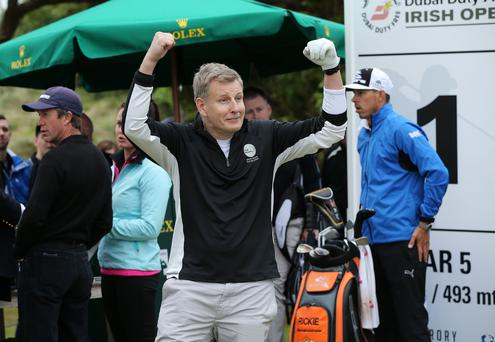 Press Eye - Belfast - Northern Ireland - 27th May 2015? Dubai Duty Free Irish Open at Royal County Down Pro-Am Comedian Patrick Kielty on the 1st tee Picture by Kelvin Boyes / Press Eye