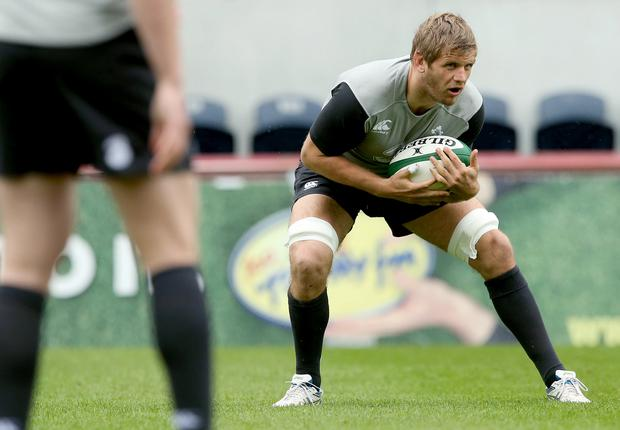 Ireland's call: Chris Henry during the Captain's Run yesterday at Thomond Park, Limerick