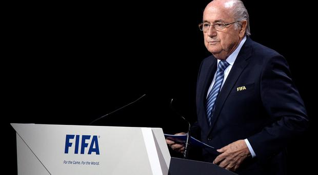 FIFA president Joseph S. Blatter delivers a speech during the 65th FIFA Congress held at the Hallenstadion in Zurich, Switzerland, Friday, May 29, 2015, where he will run for re-election. (Walter Bieri/Keystone via AP)