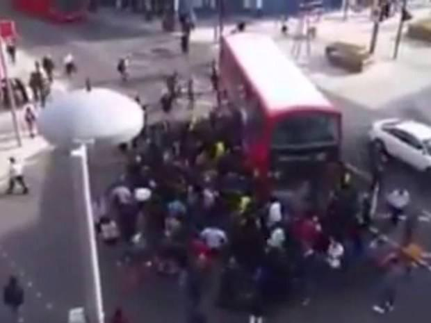 Incredible footage shows the moment people in Walthamstow, in east London, rushed to save the man's life