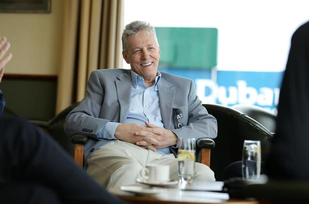 First Minister Peter Robinson pictured during a visit of the Dubai Duty Free Irish Open at Royal County Down Golf Club on Saturday morning. Picture by Kelvin Boyes / Press Eye.