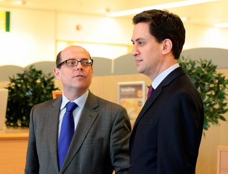 BBC political editor Nick Robinson with then Labour leader Ed Miliband, as Mr Robinson has described how Labour tried to recruit him to be Mr Miliband's spin doctor in the run-up to the general election. Yui Mok/PA Wire.