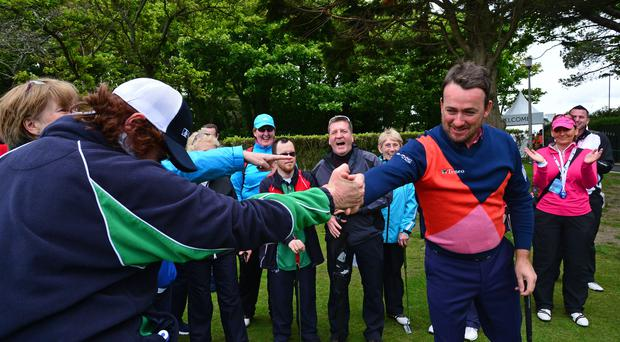 NEWCASTLE, NORTHERN IRELAND - MAY 30: Team Ireland golf athletes getting set to compete at this summer's Special Olympics World Games in Los Angeles received a major boost to their preparations at the weekend, with a day at the Dubai Duty Free Irish Open hosted by the Rory Foundation at Royal County Down, courtesy of The European Tour. Mark Runnacles/Getty Images)