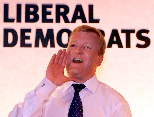 Charles Kennedy entertaining delegates in 2000 at his party's conference in Bournemouth.