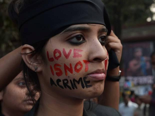 An Indian gay-rights activist takes part in a protest against the Supreme Court ruling reinstating a ban on gay sex. Image: Getty