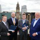 From left, Keith McGrane, and Patrick McClughan of Gaelectric, with Dr Pat McCloughan of PMCA Economic Consultants and Brendan McGrath of Gaelectric