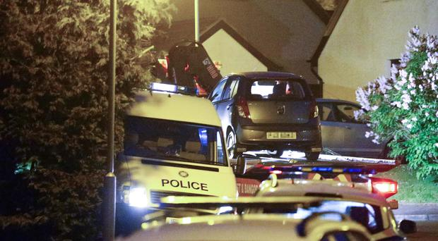 A car is taken away after a fatal accident in Bangor last night