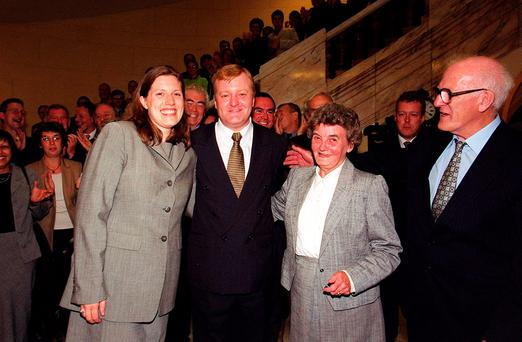 Liberal Democrat leader Charles Kennedy being congratulated by his girlfriend Sarah Gurling (left) and parents Mary and Ian, at the Liberal Club in Whitehall. John Stillwell/PA Wire.