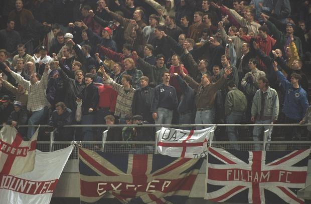 English fans during the international friendly match against the Republic of Ireland in Dublin, Ireland in 1995. The match was abandoned after 27 minutes due to crowd trouble with Ireland leading 1-0. Photo: Clive Brunskill/Allsport