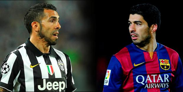 Carlos Tevez of Juventus FC (left) and Luis Suarez of FC Barcelona. (Photo by David Ramos/Getty Images)