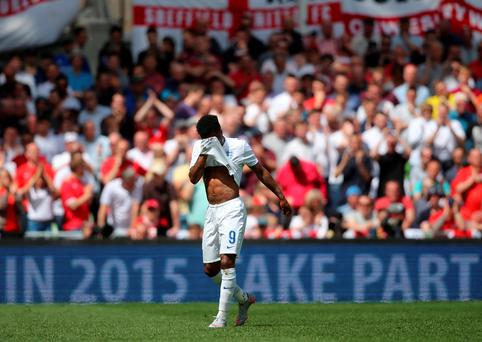 England's Raheem Sterling reacts during the international friendly at The Aviva Stadium, Dublin, Ireland. Niall Carson/PA Wire.