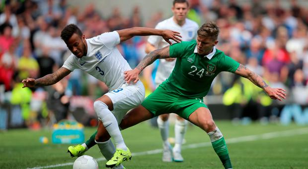 Republic of Ireland's Jeff Hendrick (right) and England's Ryan Bertrand during the international friendly at The Aviva Stadium, Dublin, Ireland. Niall Carson/PA Wire.
