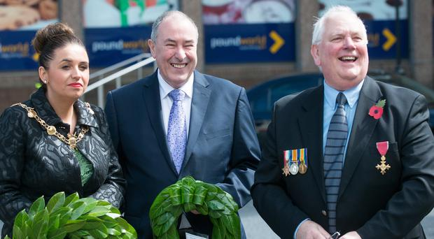 Mayor Elisha McCallion, who laid a wreath on behalf of Derry City and Strabane District Council, Sinn Fein Assembly Speaker Mitchel McLaughlin and Glenn Barr OBE take part in the 98th Annual Commemoration Service of the Battle of Messines at the Cenotaph in Derry yesterday