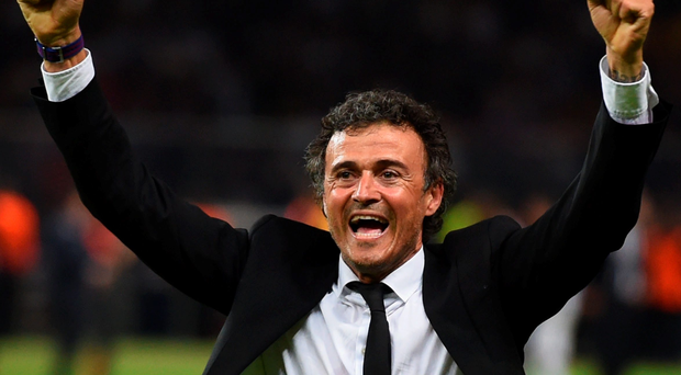 Luis Enrique celebrates victory after the UEFA Champions League Final between Juventus and FC Barcelona at Olympiastadion on June 6, 2015.