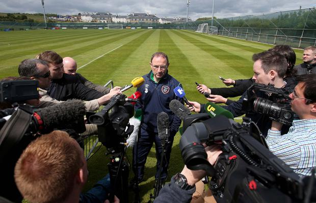 Speaking out: Republic of Ireland boss Michael O'Neill faces the media ahead of the key Euro 2016 qualifying clash with Scotland