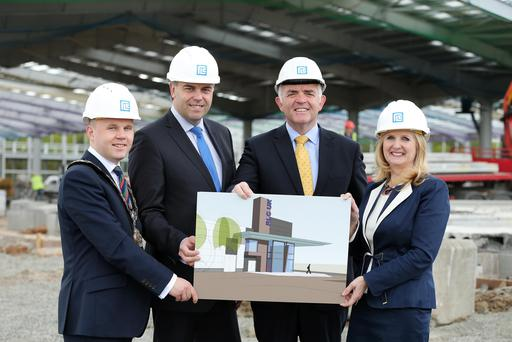Enterprise Minister Jonathan Bell pictured with Alastair Hamilton of Invest NI, Sarah Holt, RLC and Mayor of Antrim and Newtownabbey, Thomas Hogg. Pic Kelvin Boyes