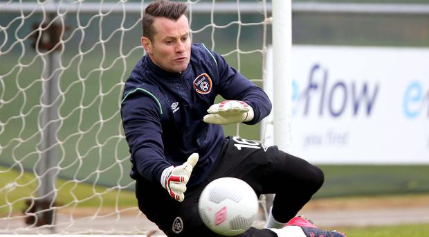 Safe hands: Shay Given looking sharp in training for big game