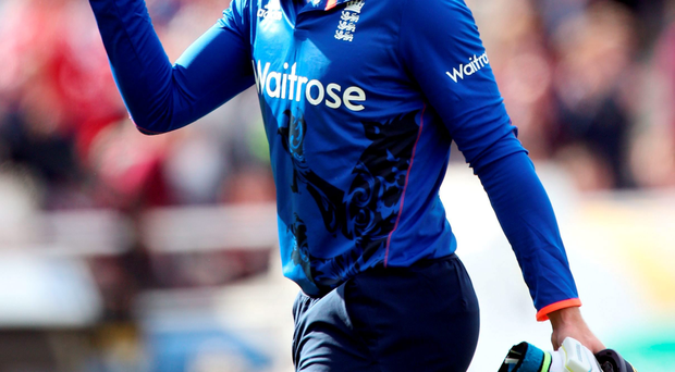 Jos Buttler acknowledges the crowd after his innings of 129 during the Royal London One-Day Cup