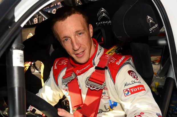 Edged out: Kris Meeke led for most of the practice session