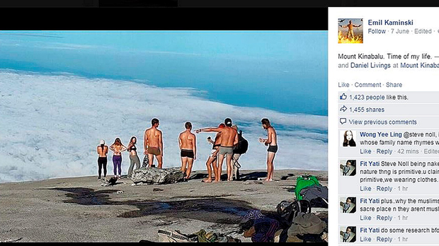 The Facebook page of Emil Kaminski showing tourists allegedly posing naked on top of Mount Kinabalu in Malaysia, as British woman Eleanor Hawkins and four other westerners have been arrested in Malaysia for allegedly posing naked on top of the sacred mountain.