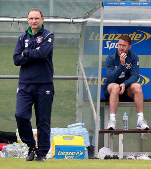 Calm before storm: Republic boss Martin O'Neill with Aiden McGeady in training