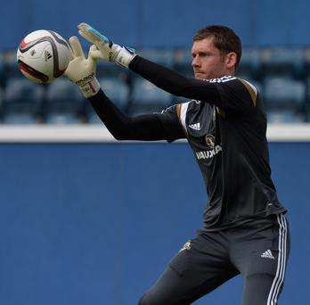 In safe hands: Michael McGovern trains yesterday in preparation for his competitive international debut in the absence of Roy Carroll PACEMAKER