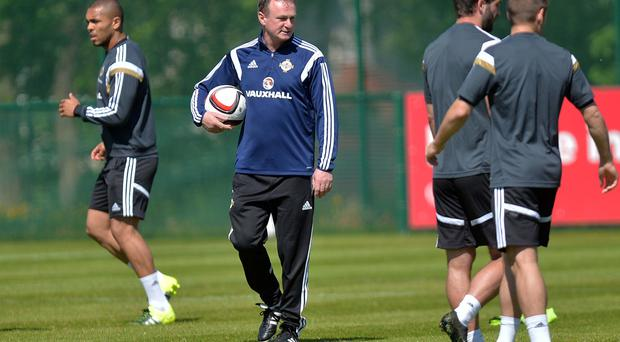 Northern Ireland Manager Michael O'Neill during training ahead of Northern Ireland's UEFA Euro 2016 qualifier against Romania on Saturday at Windsor Park in Belfast. Pic Colm Lenaghan/Pacemaker
