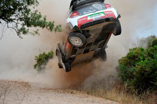 Rocky road: Kris Meeke deemed his Rally Italia Sardegna a disaster after his Citroen lost a rear wheel in a collision