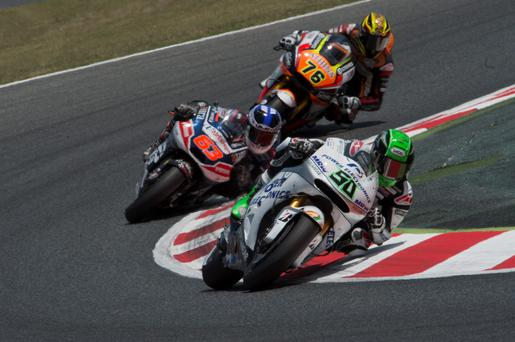 Out in front: Eugene Laverty leads the field at Mugello