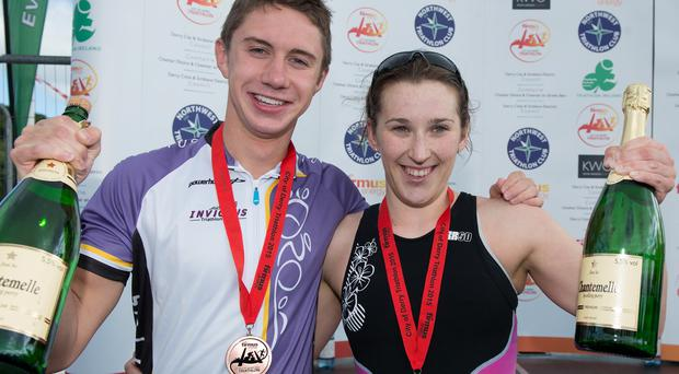 No Fee for Reproduction Harry Speers from the Invictus Triathlon Club, Bangor who won the third firmus energy City of Derry Triathlon with a time of 01:03:21 and Siobhan Gallagher from the 24/7 Triathlon Club, Letterkenny who was the first lady home in a time of 01:11:22. Picture Martin McKeown. Inpresspics.com.