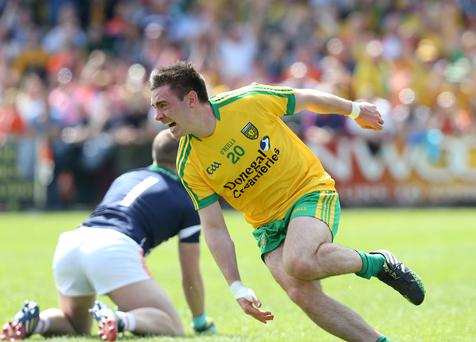 Damage done: Donegal's Martin O'Reilly is on target during a stunning performance against Armagh