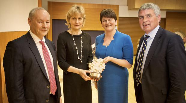 Finance Minister Arlene Foster (second right) presented Lady Ballyedmond (second left) with the special innovation founder accolade, with Dr Peter Fitzgerald (left) from Randox  and Richard Milliken, chairman of NI Science Park
