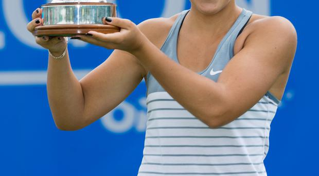 Silver lining: Ana Konjuh shows off her prize