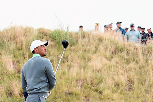 Tough test: Tiger Woods in yesterday's practice round