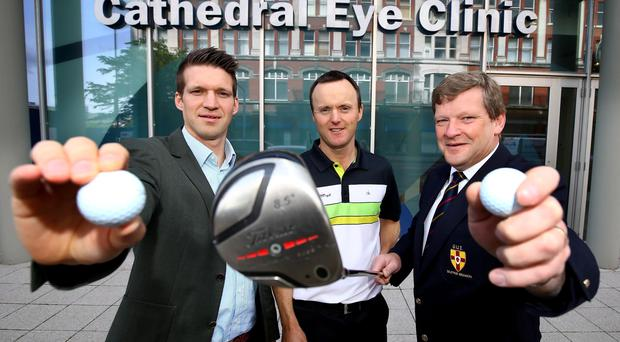 In the swing: Leading professional Michael Hoey joins Andrew Spence from Cathedral Eye Clinic and Kevin Stevens of the Golfing Union of Ireland (Ulster Branch) to launch the Cathedral Eye Clinic 2015 North of Ireland Amateur Open Championship